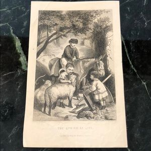 "Antique Engraving THE SPRING OF LIFE 9"" x 5.5"""